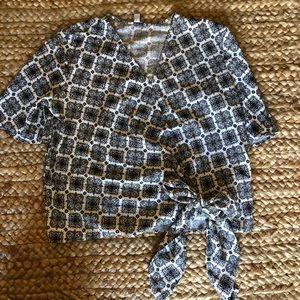 Faux wrap tie waist blouse